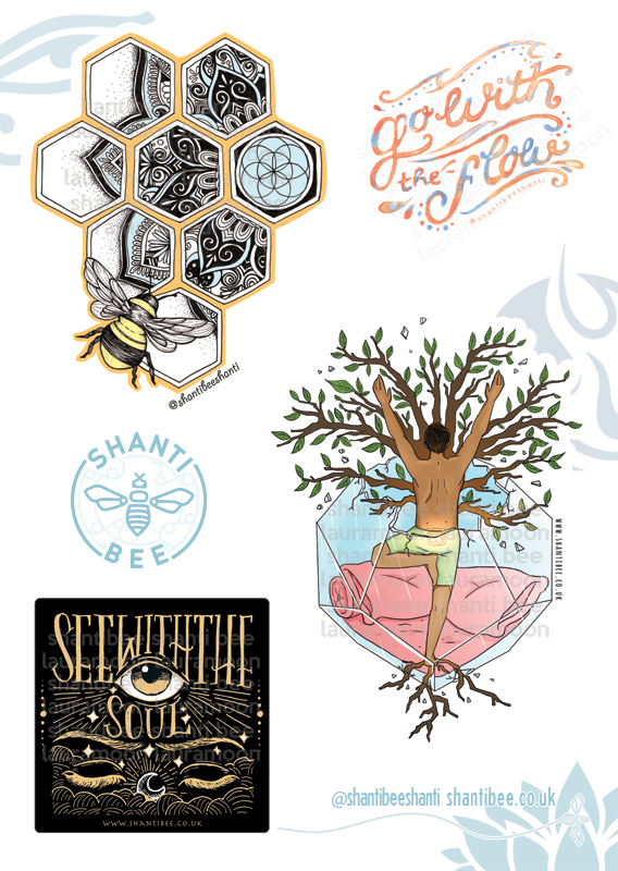 Shanti Bee Sticker Sheet #1